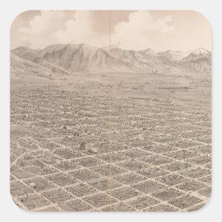 Vintage Pictorial Map of Salt Lake City (1875) Square Sticker