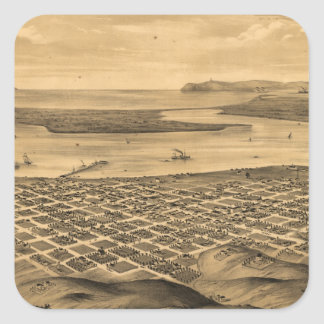 Vintage Pictorial Map of San Diego (1876) Square Stickers