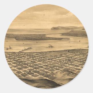 Vintage Pictorial Map of San Diego (1876) Sticker
