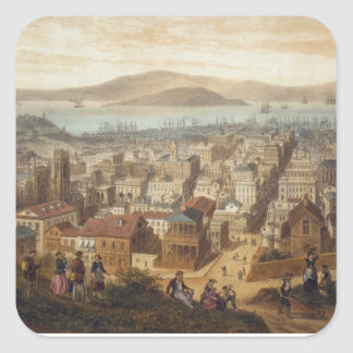 Vintage Pictorial Map of San Francisco (1860) Square Sticker