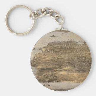 Vintage Pictorial Map of San Francisco (1868) Basic Round Button Key Ring