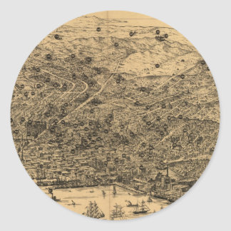 Vintage Pictorial Map of San Francisco (1875) Round Sticker