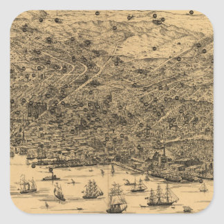 Vintage Pictorial Map of San Francisco (1875) Square Sticker