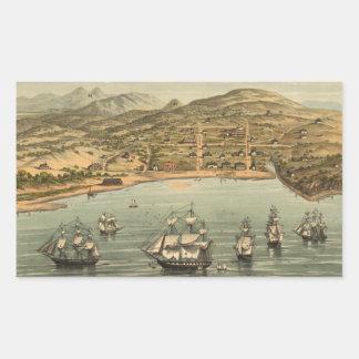 Vintage Pictorial Map of San Francisco (1884) Rectangular Sticker