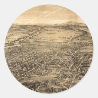Vintage Pictorial Map of San Jose CA (1869) Round Sticker