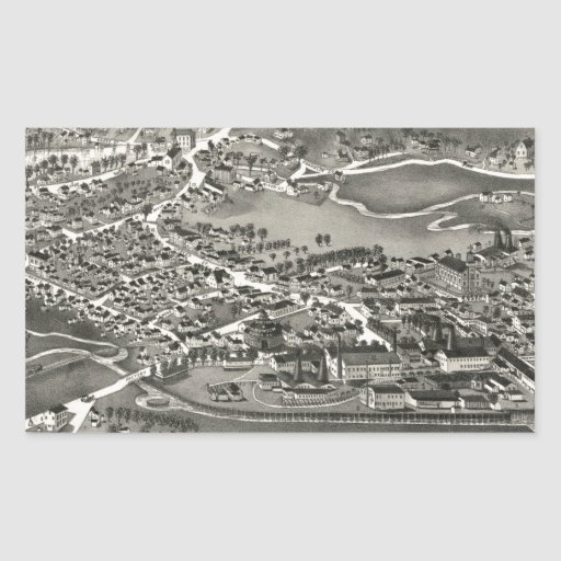 Vintage Pictorial Map of Sandwich MA (1884) Rectangle Sticker