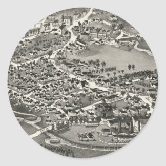 Vintage Pictorial Map of Sandwich MA (1884) Classic Round Sticker