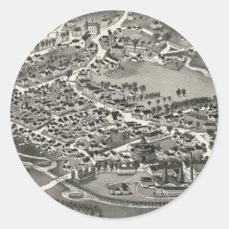 Vintage Pictorial Map of Sandwich MA (1884) Round Sticker