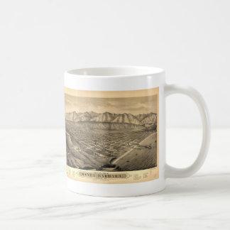 Vintage Pictorial Map of Santa Barbara CA (1877) Basic White Mug
