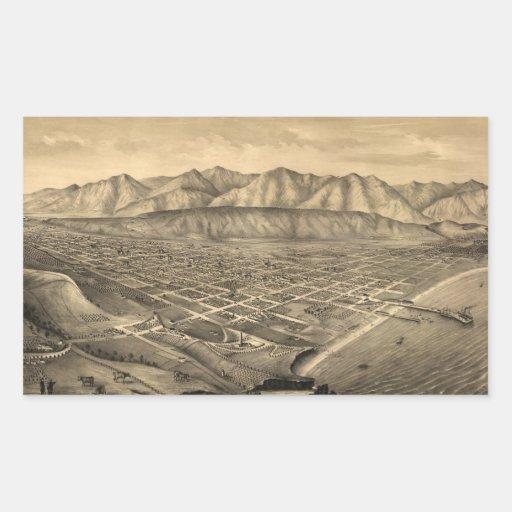 Vintage Pictorial Map of Santa Barbara CA (1877) Sticker