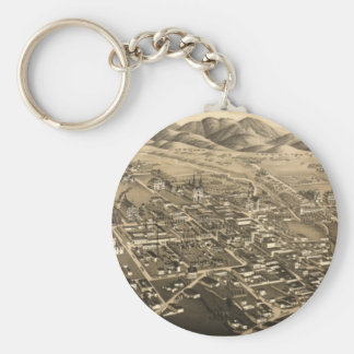 Vintage Pictorial Map of Santa Fe (1882) Basic Round Button Key Ring
