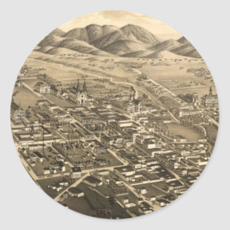 Vintage Pictorial Map of Santa Fe (1882) Round Stickers