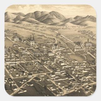 Vintage Pictorial Map of Santa Fe (1882) Square Sticker