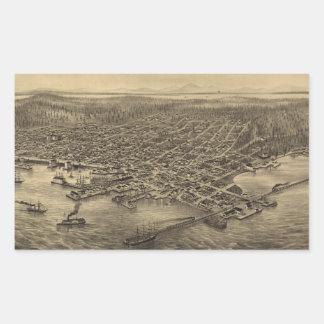 Vintage Pictorial Map of Seattle (1878) Rectangular Sticker