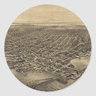 Vintage Pictorial Map of Seattle (1878) Round Sticker