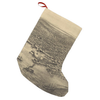 Vintage Pictorial Map of Seattle (1878) Small Christmas Stocking