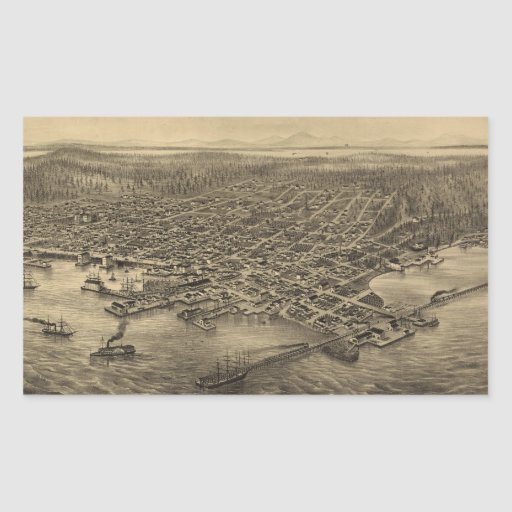 Vintage Pictorial Map of Seattle (1878) Rectangular Stickers