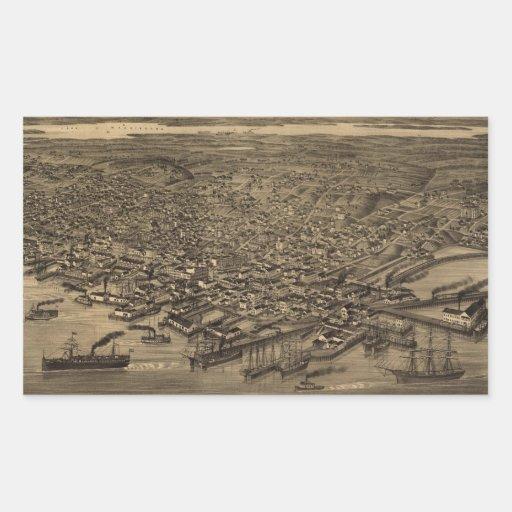 Vintage Pictorial Map of Seattle (1884) Rectangular Sticker