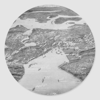 Vintage Pictorial Map of Seattle (1908) Round Sticker