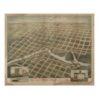 Vintage Pictorial Map of Sioux Falls SD (1881) Poster