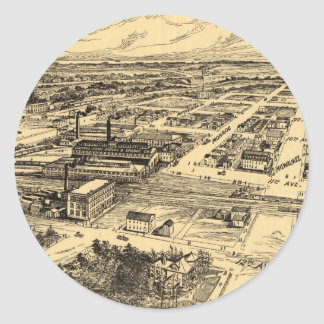 Vintage Pictorial Map of Southern Milwaukee (1906) Round Sticker
