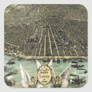 Vintage Pictorial Map of St. Louis (1896) Square Sticker