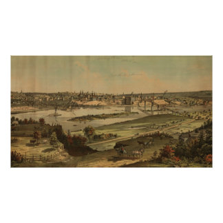 Vintage Pictorial Map of St. Paul Minnesota (1874) Poster