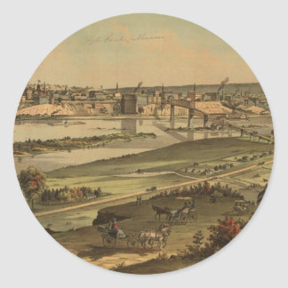 Vintage Pictorial Map of St. Paul Minnesota (1874) Round Sticker
