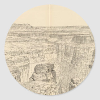 Vintage Pictorial Map of The Grand Canyon (1895) Round Sticker