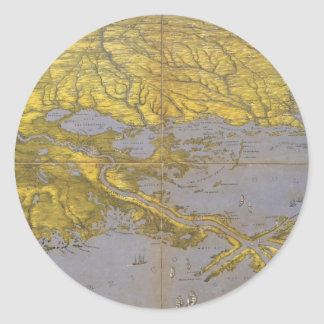 Vintage Pictorial Map of The Gulf (1861) Classic Round Sticker