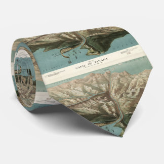 Vintage Pictorial Map of The Panama Canal (1881) Tie