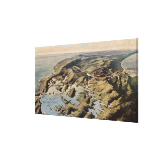 Vintage Pictorial Map of The Panama Canal (1912) Canvas Print