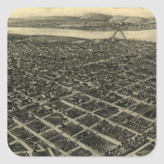 Vintage Pictorial Map of Tulsa (1918) Square Sticker