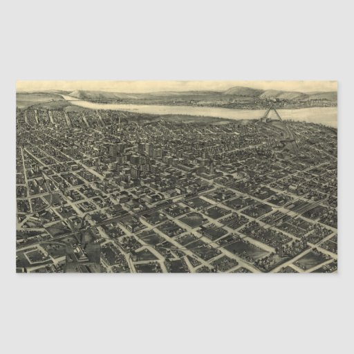 Vintage Pictorial Map of Tulsa (1918) Stickers