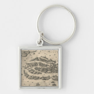 Vintage Pictorial Map of Venice Italy (1573) Key Ring