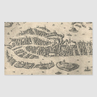 Vintage Pictorial Map of Venice Italy (1573) Sticker