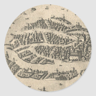 Vintage Pictorial Map of Venice Italy (1573) Round Sticker