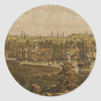 Vintage Pictorial Map of Victoria Vancouver (1860) Round Sticker