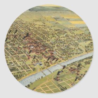 Vintage Pictorial Map of Waco Texas (1892) Round Sticker