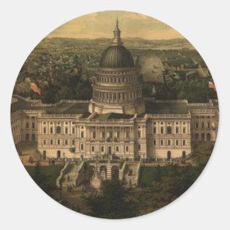 Vintage Pictorial Map of Washington D.C. (1857) Round Sticker