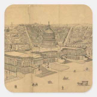 Vintage Pictorial Map of Washington D.C. (1872) Square Sticker