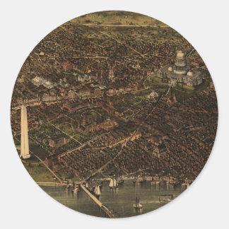 Vintage Pictorial Map of Washington D.C. (1892) Round Sticker