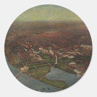 Vintage Pictorial Map of Washington D.C. (1916) Round Sticker