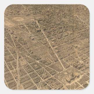 Vintage Pictorial Map of Washington D.C. (1921) Square Sticker