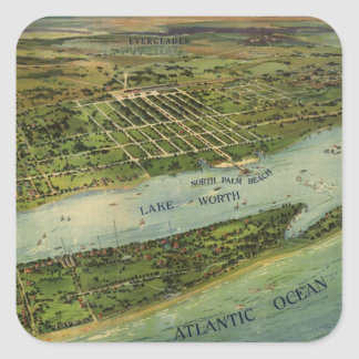 Vintage Pictorial Map of West Palm Beach (1915) Square Sticker