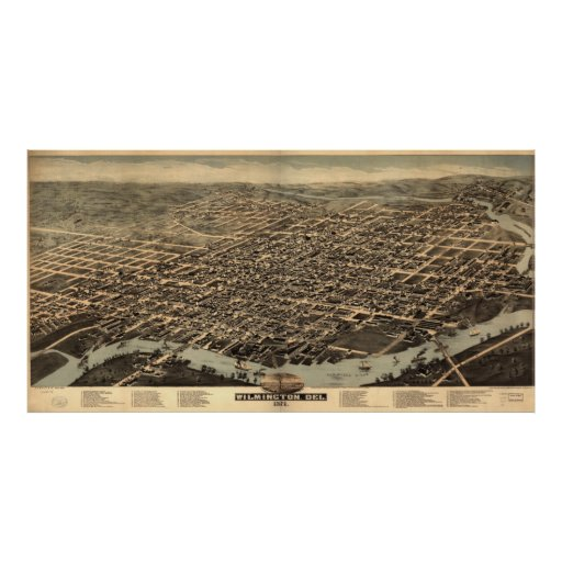 Vintage Pictorial Map of Wilmington DE (1874) Poster
