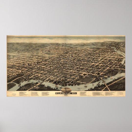 Vintage Pictorial Map of Wilmington DE (1874) Poster
