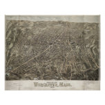 Vintage Pictorial Map of Worcester MA (1878) Posters