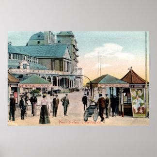 Vintage Pier gates Llandudno Wales seaside resort Poster