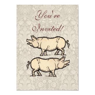 "Vintage Pig Antique Piggy Illustration 4.5"" X 6.25"" Invitation Card"